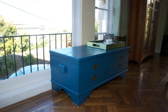 painted teal chest