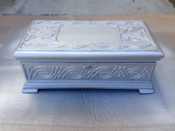 painted silver box