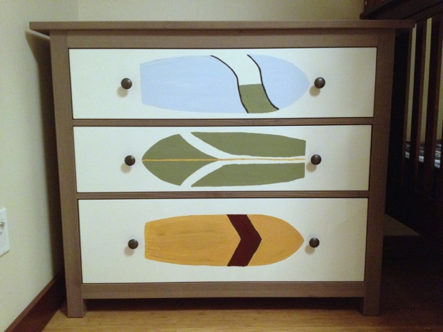 Gray-brown Hemnes dresser transformed with painted white drawers. By Jewels at Home.
