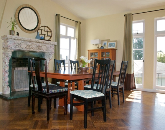 Dining Room with painted and reupholstered chairs by Jewels at Home
