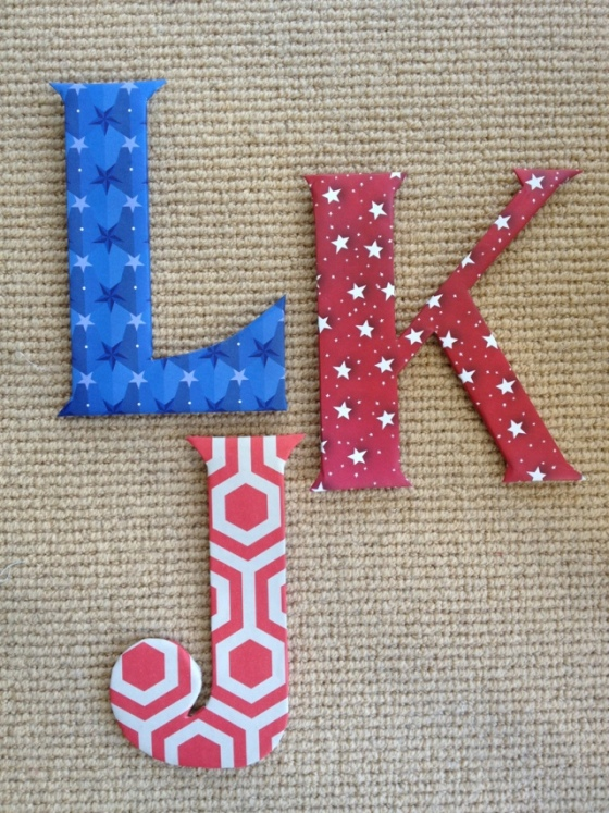 DIY paper-wrapped wall initials by Jewels at Home