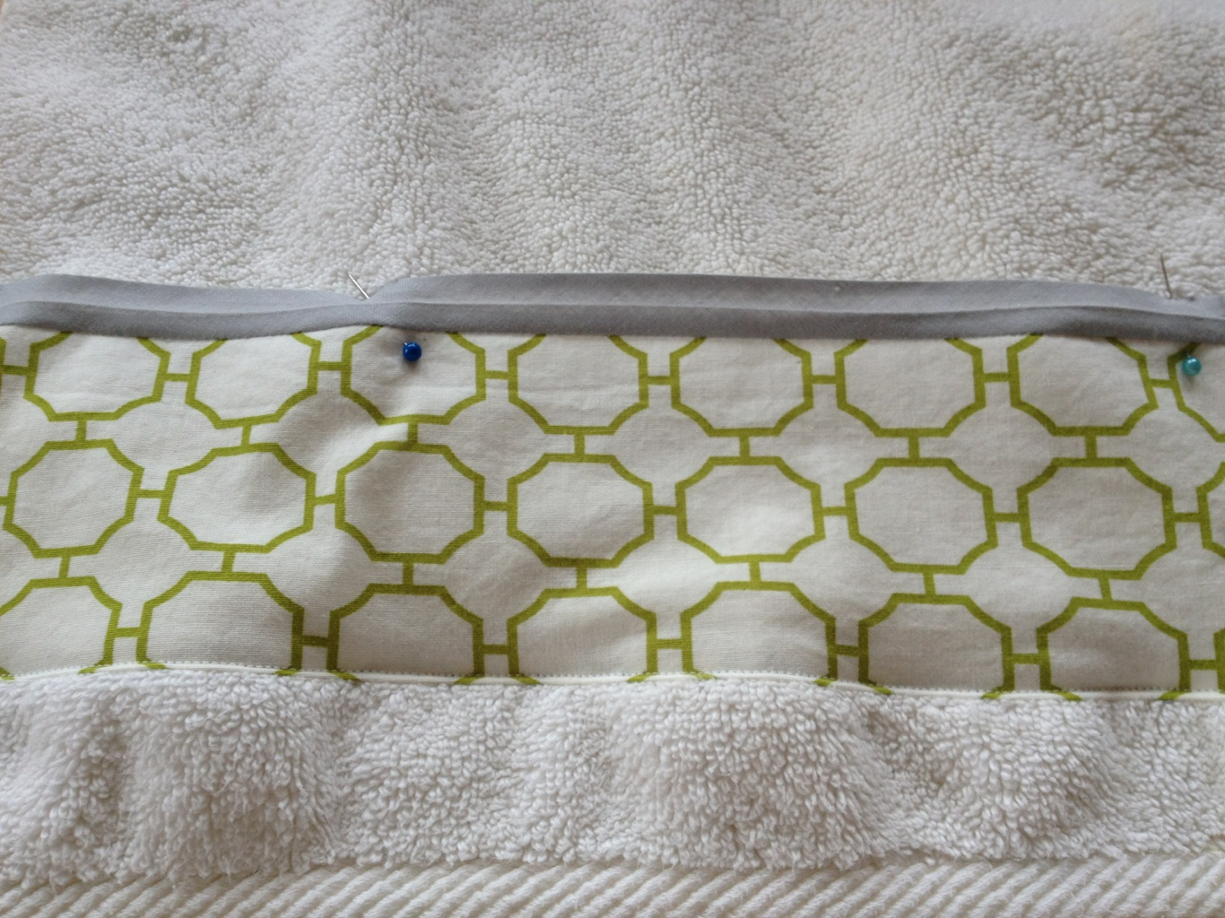 Adding fabric border to towels by Jewels at Home