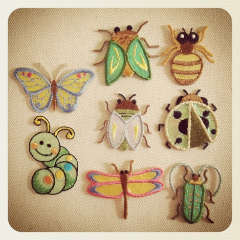 Iron-on insect appliques