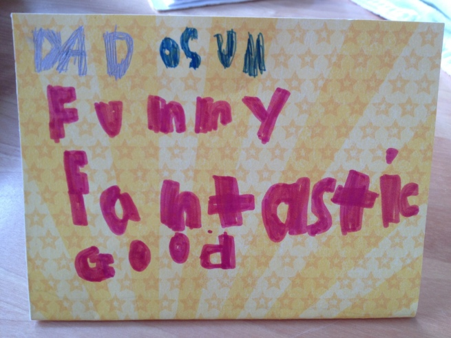 Father's Day card by kids at Jewels at Home