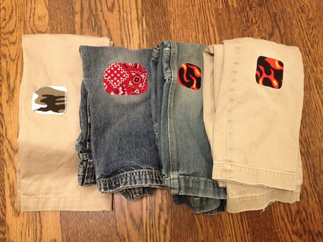 Patch your kids' pants with fun fabrics for an eco-friendly fashion statement.  By Jewels at Home.