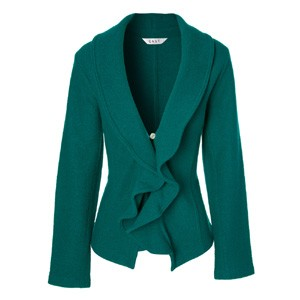 teal ruffle collar jacket
