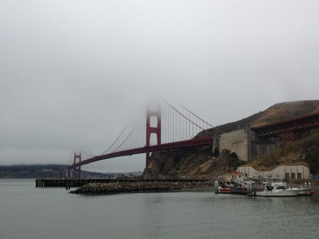 Golden Gate Bridge under fog, from Fort Baker