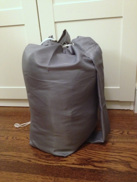 DIY sleeping bag stuff sack from an inexpensive shower curtain by Jewels at Home