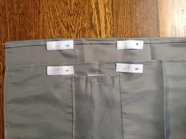 Sew strips of velcro to the main bag on the inside of the flap and the outside of the front, as shown.