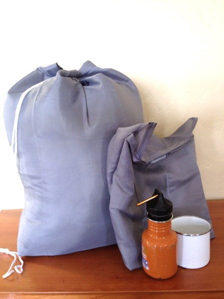 Sleeping bag stuffsack and camping meal kit made from an inexpensive shower curtain! by Jewels at Home