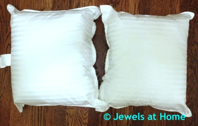 Cut an inexpensive pillow in half and sew closed for economical pillow forms.