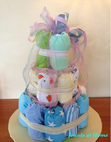 Diaper cake using cloth diapers.  From Jewels at Home.