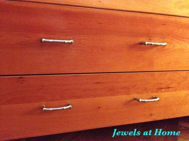 New faux bamboo hardware gives an old dresser new life.