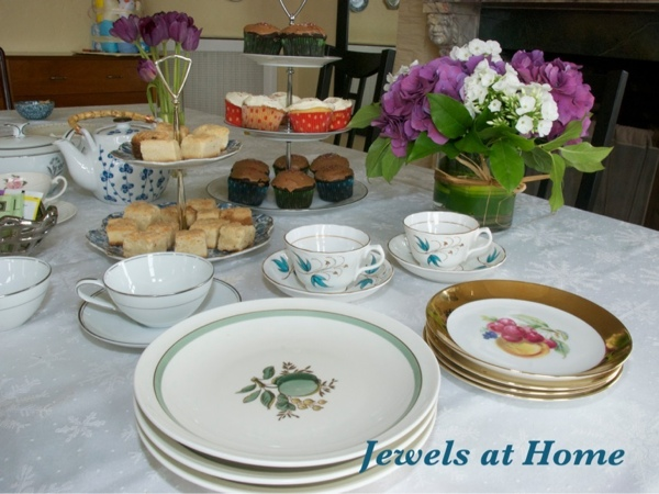 Eclectic tea party - mix and match vintage china for an easy and beautiful table setting.  Jewels at Home.