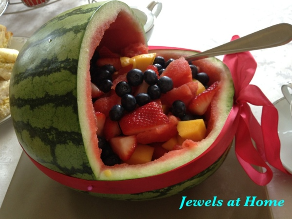 Watermelon baby carriage with fruit salad. From Jewels at Home.