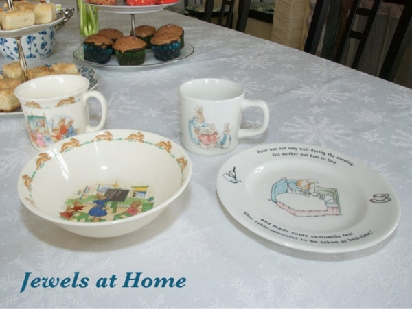 Bunnykins and Peter Rabbit place settings.  These are perfect for a tea party baby shower.