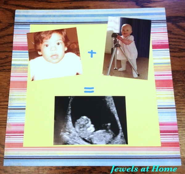 Gather old pictures of the mom and dad to make a scrapbook at a baby shower.  Jewels at Home.