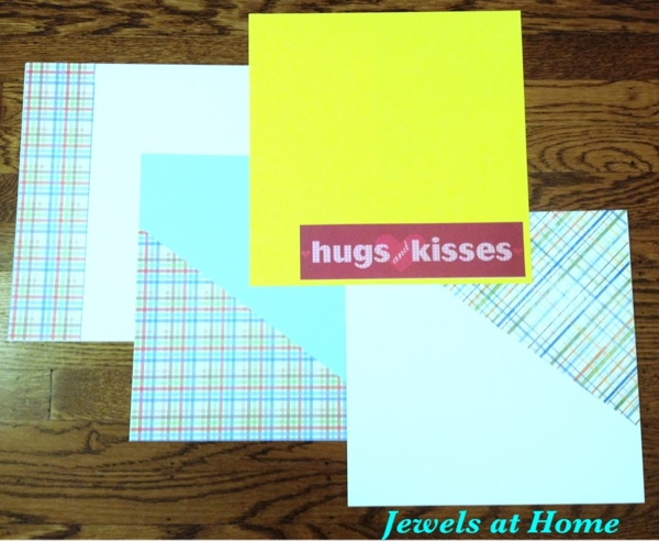 For a scrapbook party, prepare simple backgrounds to inspire guests.  From Jewels at Home.