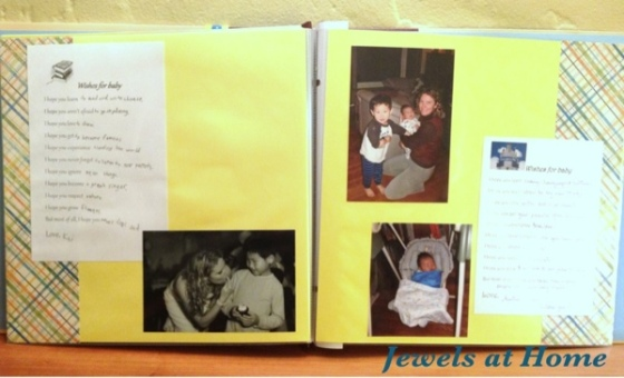 Baby shower scrapbook project.  From Jewels at Home.