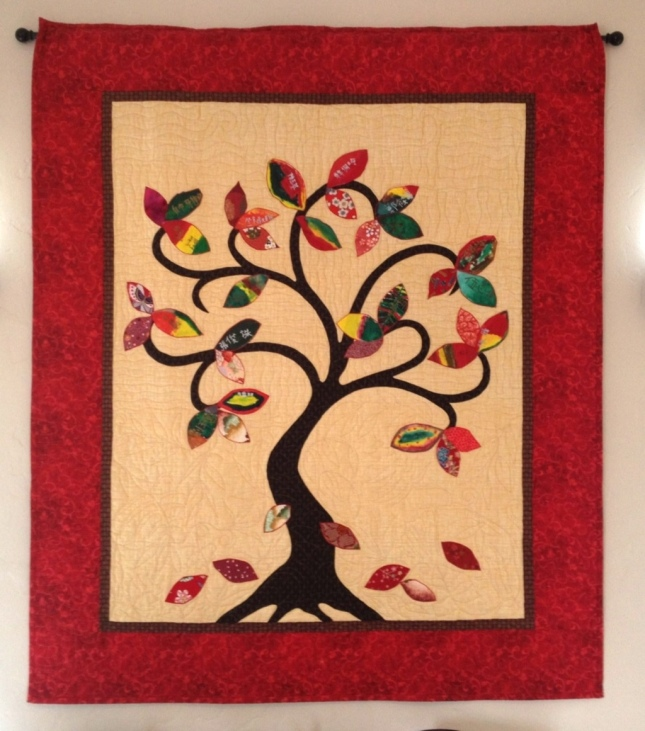 """Family Tree"" quilt for a classroom art project."
