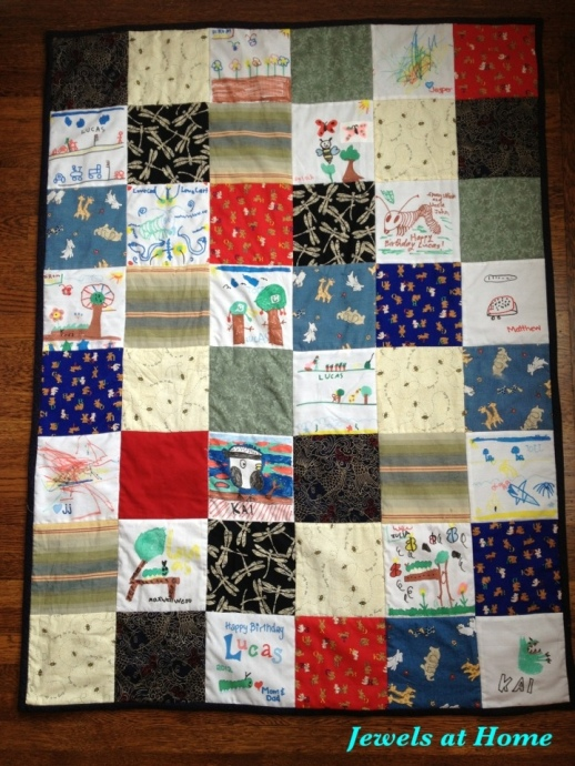 Quilt incorporating blocks drawn at a birthday party.  From Jewels at Home.