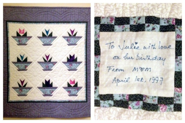 A special quilt with its story on the back.  From Jewels at Home.