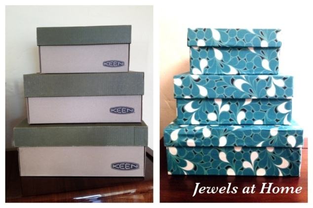 Tutorial for DIY Fabric-covered decorative boxes from Jewels at Home.
