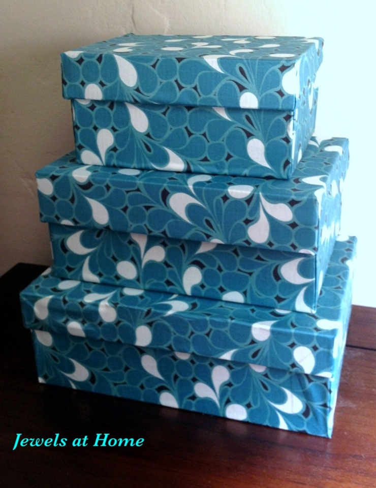 Fabric covered decorative boxes jewels at home for Fabric covered boxes craft