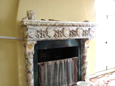 Updating an ornate fireplace.  Before and after. Jewels at Home.