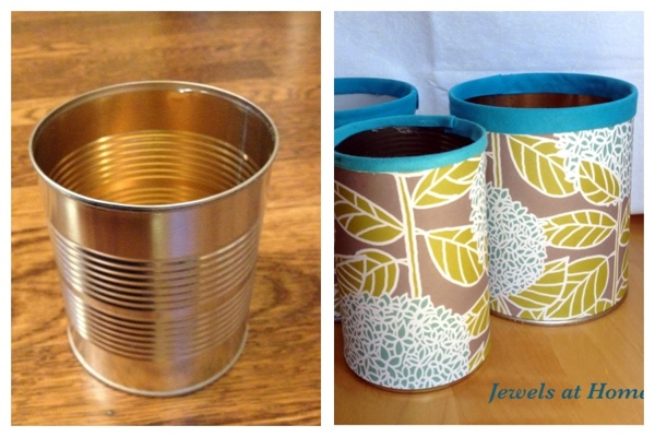 Turn used cans into beautiful pencil tins for your office.  From Jewels at Home.
