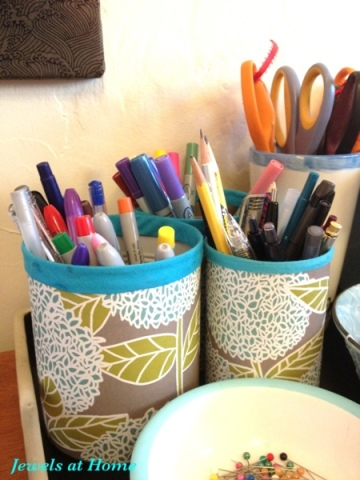 Craft room desk set: DIY pencil tins fit in with ceramics on a vintage tray.  From Jewels at Home.