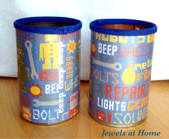Turn old cans into pencil tins with paper and bias ribbon.  From Jewels at Home.