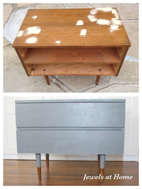 "Mid-Century dresser painted in Benjamin Moore Amherst Gray with reverse ""dipped"" legs.  You could get this look with an Ikea Sveio hack, too.  From Jewels at Home."