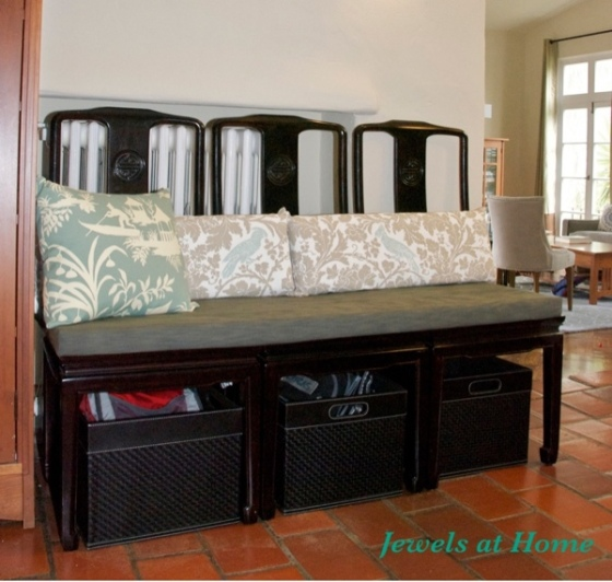 Ideas for joining chairs into a bench.  From Jewels at Home.