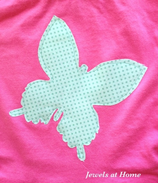 Butterfly applique for girls' shirts and dresses.  Many more ideas at Jewels at Home.
