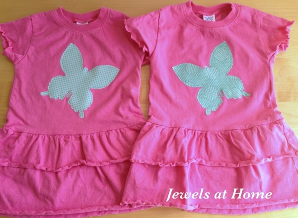 Add appliques to inexpensive blank dresses and shirts for a unique gift.  More ideas at Jewels at Home.
