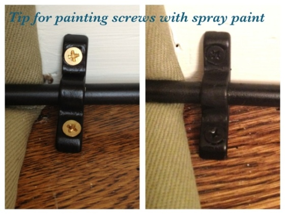 Tip for painting screws with spray paint.  Jewels at Home.