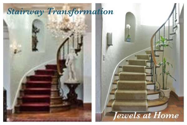 Updating a stairway step by step from Jewels at Home.