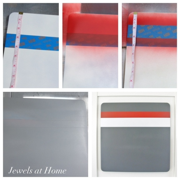 Tutorial: painting racing stripes on a magnet board.  Jewels at Home.