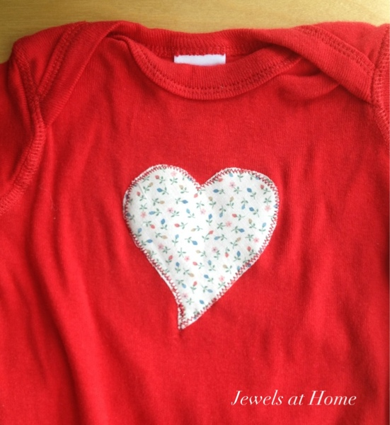 Sweet heart applique onesie.  Jewels at Home.