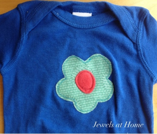 Simple flower applique onesie for a baby girl.  Jewels at Home.