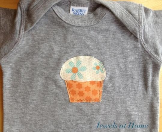 Cupcake applique onesie.  Jewels at Home.