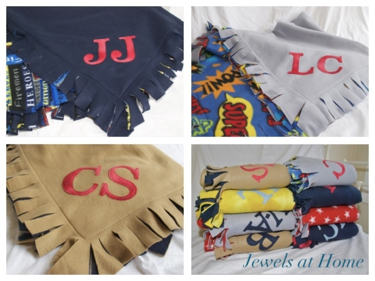 Monogrammed cozy fleece blankets from Jewels at Home.