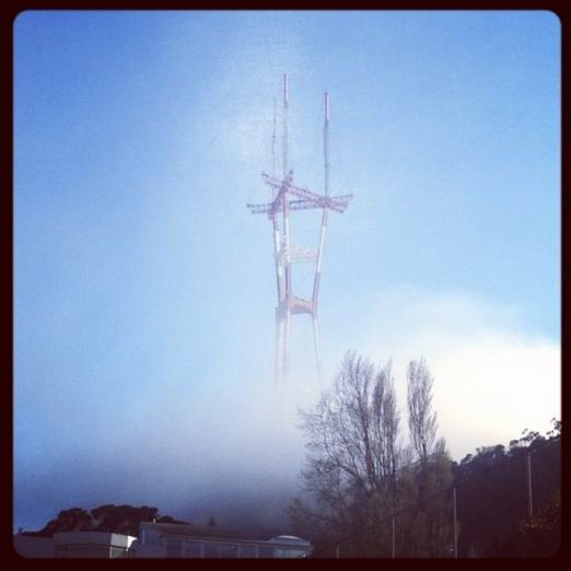 Fog at the base of Sutro Tower, San Francisco.  Jewels at Home.