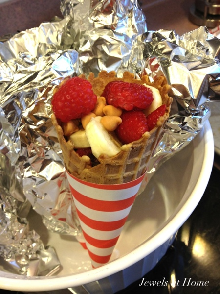 """Make """"s'mores in a cone"""" with the kids.  From Jewels at Home."""