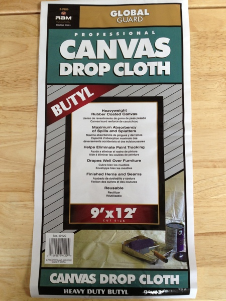 canvas drop cloth used as a movie screen via jewels at home