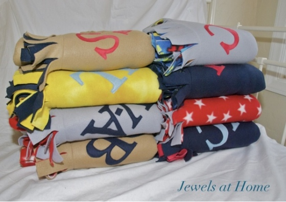 Cozy monogrammed fleece blankets.  From Jewels at Home.