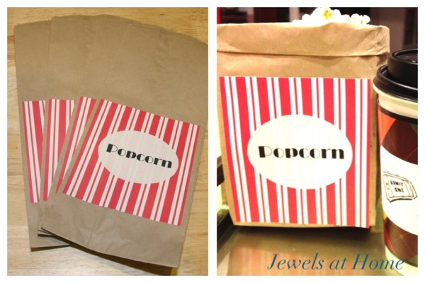 Decorate popcorn bags for a home movie night.  From Jewels at Home.