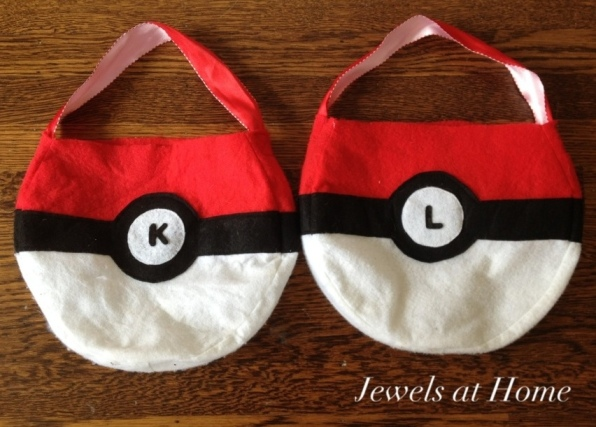 Pokemon pokeball bags for treats.  From Jewels at Home.