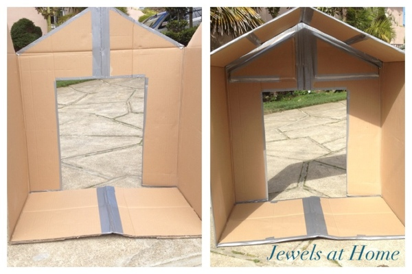 DIY folding cardboard house tutorial.  From Jewels at Home.
